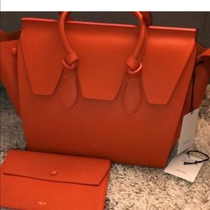 Celine large tie tote bag in orange color